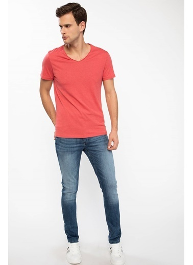 DeFacto V Yaka Slim Fit T-shirt Kırmızı
